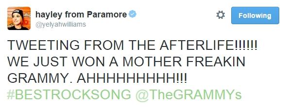 Paramore ganha seu primeiro Grammy na categoria Melhor Música de Rock!